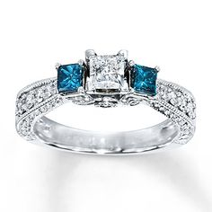 Blue Diamond Ring 1 carat tw Princess-Cut 14K White Gold  Yes, I think I want this :) But I want circle stones!