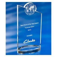3D crystal globe slice award Clarks best store-1