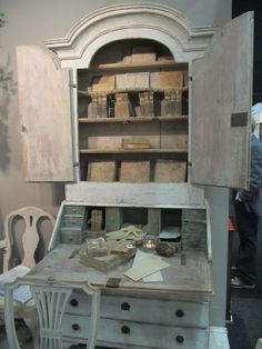 Distressed paint Old writing desk, French palette color, old books and journals. Stunning!