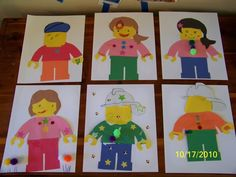Lego person collage: cut out heads, torsos, legs, hands, hats and hair and put… 9th Birthday Parties, Lego Birthday Party, Star Wars Birthday, Boy Birthday, Open Adoption, Adoption Party, Lego Kindergarten, Preschool, Lego Friends Party