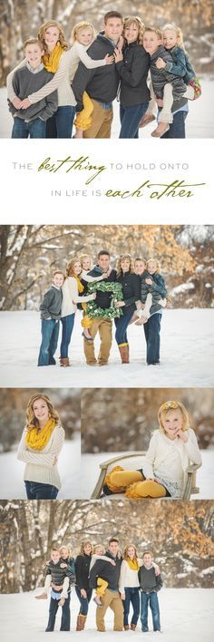 Winter family shoot, Mustard and gray, Snow photos. BIG FAMILIES - change mustard to red Large Family Poses, Family Picture Poses, Family Picture Outfits, Family Photo Sessions, Family Posing, Family Portraits, Large Families, Extended Family, Picture Ideas