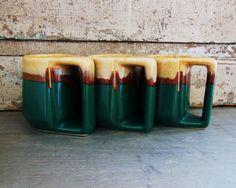 Mexican Rudolfo Padilla Mugs Drip Glaze Green Brown Tan Set of 3. $12.00, via Etsy.