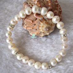 Wedding Bracelet  8 inches 89mm  AA White by Girlslovepearls, $11.00
