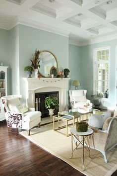 Fall decor in a formal living space.  Wall color: Sherwin Williams Rainwashed