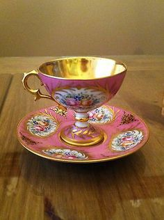 Limoges France Hand Painted Signed Pedestal Tea Cup and Saucer