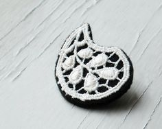 Black and White Paisley Brooch Vintage Lace by TheWhirlwind, $18.00