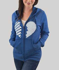 Royal Blue Broken Heart Zip-Up Hoodie by Smith & Sundry