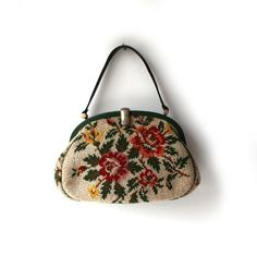 Round She Goes - Market Place - Vintage mid century floral wool tapestry and leather trim handbag