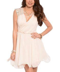 Another great find on #zulily! Light Peach Embellished Surplice Dress #zulilyfinds
