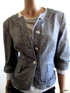CYNTHIA STEFFE  Navy Chambray Spring Jacket *Button Front *3/4 Sleeve 8 10 12  #CynthiaSteffe #BasicJacket