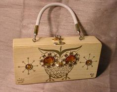 shopgoodwill.com: Enid Collins Night Owl Wooden Box Purse