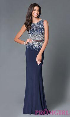 Image of long beaded top sheer waist dress  Front Image