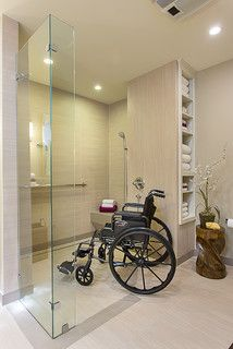 accessible, barrier free, aging-in-place, universal design bathroom remodel modern The shower is open so that people with mobility aids can come in without any trouble. universal design :: aging in place Ada Bathroom, Handicap Bathroom, Mold In Bathroom, Laundry In Bathroom, Small Bathroom, Bathroom Mirrors, Budget Bathroom, Bathroom Cabinets, Bathroom Ideas