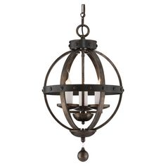 Bring a touch of rustic French country inspiration to your foyer or dining room with this eye-catching pendant, featuring rivet details and a banded design. ...