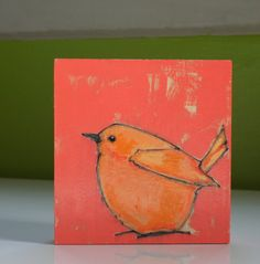 poppy color block bird original happy bright little by a2n2koon
