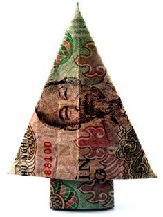 money origami christmas tree