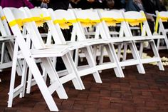 A nice simple way to dress up chairs for the ceremony. http://blog.weddingstar.com/wedding-signs-natalie-numa/