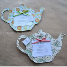 Cute invites to make.  I have a stationary teapot box that I could use as a template to make these.
