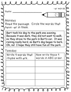 Word Work Activities - 2nd Grade - FREE SAMPLE