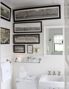 """A collection of old group photos — from summer-camp kids to sports teams — hangs in the house's only bathroom. Read more: Beach Cottage Style - Decor For Beach Cottage - Country Living"" like the shortening lengths of the pics Beach Cottage Style, Beach Cottage Decor, Coastal Style, Small Space Bathroom, Small Spaces, Small Bathrooms, Country Bathrooms, Cottage Bathrooms, Small Sink"