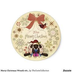 Merry Christmas Wreath with Santa Sheep and Bird