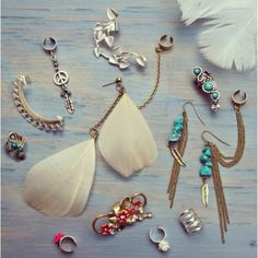 Feathers, beads and turquoise - festival earrings