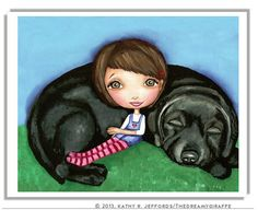 Hey, I found this really awesome Etsy listing at http://www.etsy.com/listing/55744651/girl-with-black-lab-dog-art-print-black