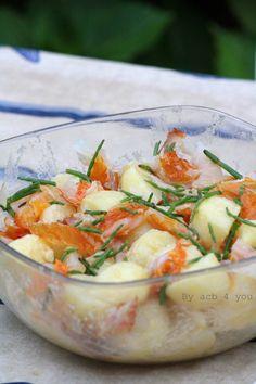 Je poursuis sur ma lancée iodée en vous proposant cette salade de pommes de terre au haddock et à la salicorne. C'est en faisant mes courses à mon arrivée à Sarzeau (Morbihan) que l'idée de cette salade m'est venue. Mister R aime beaucoup voir les poissons...