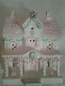 pictures of christmas shabby pink houses | SHABBY-PINK-CHIC-CHRISTMAS-VICTORIAN-VILLAGE-LIGHTED-HOUSE-SWAROVSKI ...