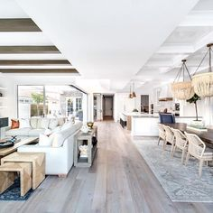 The open floor plan of all open floor plans . I absolutely love what @brandonarchitects did with this downstairs living space. The expansive kitchen, dining room, living room, and outdoor patio all flow freely into one another making it a dream space for hosting guests... or just living your best life. ♀️ #lindyegallowayinteriors __________ Builder: @pattersoncustomhomes Architect: @brandonarchitects Photos: @chadmellon Interiors: @lindyegalloway . . . . #Interiors #InteriorDesign ...