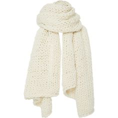 I Love Mr. Mittens Extra Large Cableknit Scarf (250 NZD) ❤ liked on Polyvore featuring accessories, scarves, white, chunky scarves, white shawl, cable knit scarves, cable knit shawl and white scarves