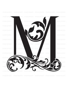 Monogram Initial Letter M Digital Collage by SimplyGraphicStore