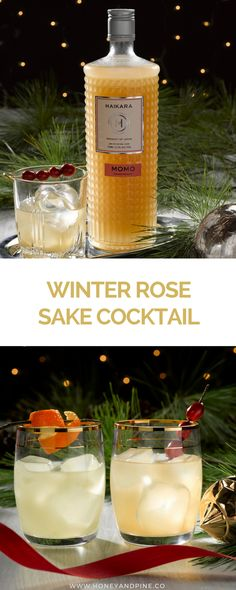 This easy sake cocktail is such an easy recipe to try at your holiday party this year. Via Honey and Pine featuring Haikara Sake #cocktail #cocktailrecipe #drink
