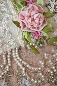 Beautiful just because it is!  Love the pearls and flowers. <pin by Jillie on ROMANTIC DREAMING>