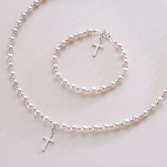 Girls or Ladies Pearl and Silver Cross Jewellery Set. Pale