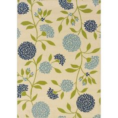 This floral design indoor/outdoor area rug will accentuate your outdoor spaces and features shades of ivory, blue and green. This durable polypropylene rug will endure the elements and continue to look great for many years.