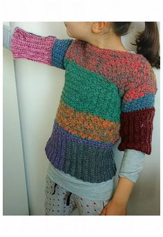 Crochet PATTERN Clothing Sweater. Baby Adult colorful Shirt.