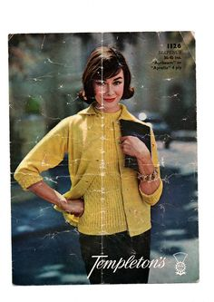 Vintage 1960s Knitting Pattern Download for an elegant twin set. This pattern includes directions for a thre quater sleeved cardigan and a light lacy short sleeved top. The cardigan also has an option for full length sleeves.
