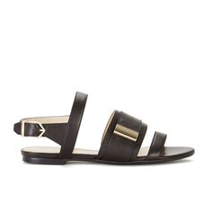 215 ф - HUGO Women's Plenn Triple Strap Leather Sandals - Black: Image 01