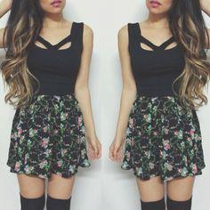 Loving how @Kristy Le styled our floral skater skirt!