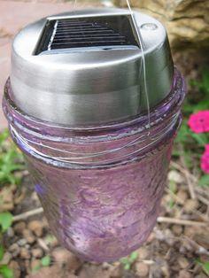 DIY colored outdoor solar lights with mason jars