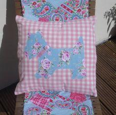 Blue Scottie Applique Cushion Cover
