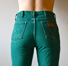 Amazing 80s Forest Green Acid Wash Straight Leg, High Waisted Wrangler Jeans -- So Unique! by HandsomePeteShop on Etsy