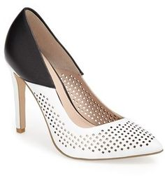 French Connection 'Maya 2' Perforated Two Tone Leather Pump #black #white #leather #pumps #heels #shoes #fashion #frenchconnection