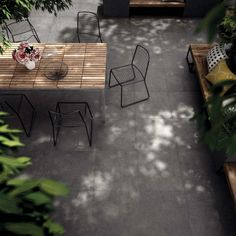 Highly speckled concrete effect floor tiles for use in the home and outside.
