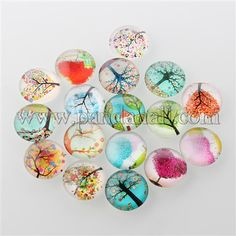 Tree of Life Printed Half Round/Dome Glass Cabochons X-GGLA-A002-20mm-GG-1