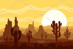 Sunset in stone desert. Vector set. Graphics **Landscape with sunset in stone desert with cactuses and mountains.** Vector illustrations set incl by MSA-Graphics