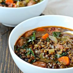 Chase away the last days of cold weather with a bowl of my Lentil Soup with Sausage and Greens.