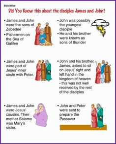 Did You Know the Disciples James and John (Story) - Kids Korner - BibleWise Sunday School Classroom, Sunday School Activities, Bible Activities, Sunday School Lessons, Sunday School Crafts, School Staff, Bible Games, Church Activities, Group Activities