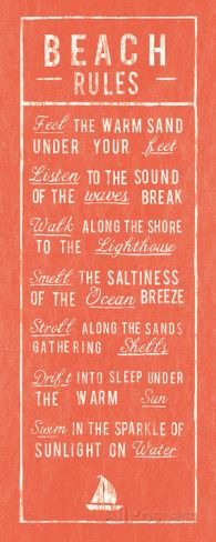 """Beach Rules - Coral Posters at AllPosters.com  8 x 20"""" allposters.com"""